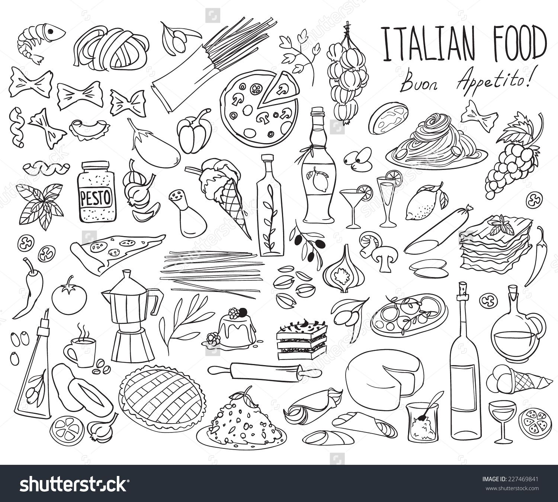 Set of doodles, hand drawn rough simple Italian cuisine