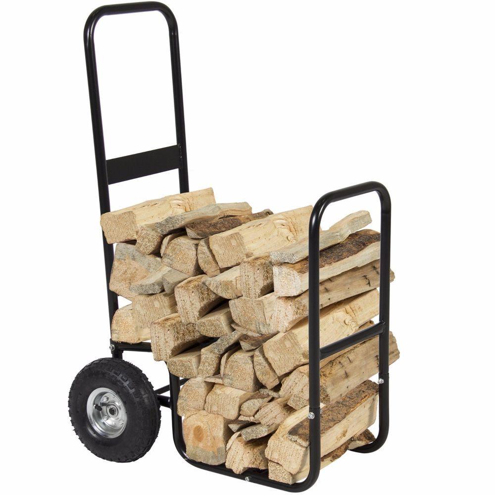 Firewood Cart Log Carrier Fireplace Wood Mover Hauler Rack Caddy