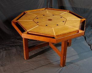 Charming Rare L. Stickley Octagonal Game Table With Ebony, Mahogany, Walnut U0026 Maple  Inlays.