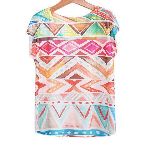 Camiseta suelta geométrica manga corta