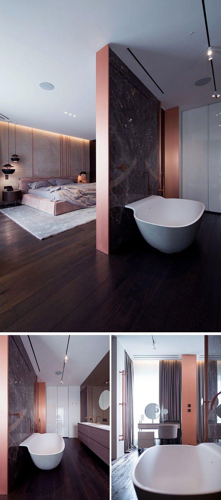 schlafzimmer eigenes bad raumteiler kupfer akzente #innendesign ...