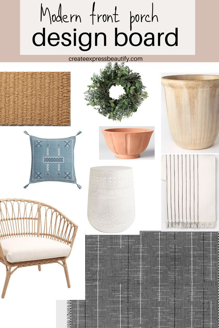 Inspiration to help you create a beautiful front porch for you and your family to enjoy. #frontporch #modernfrontporch