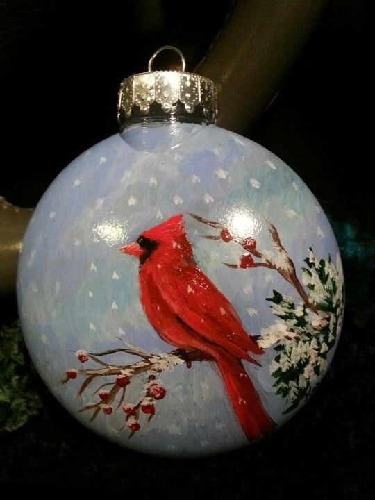 Hand painted ornament art by kari pinterest hand for Glass christmas ornaments to paint