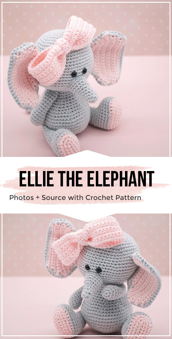 Elephant Amigurumi - Free Crochet Pattern • Craft Passion | 1102x560