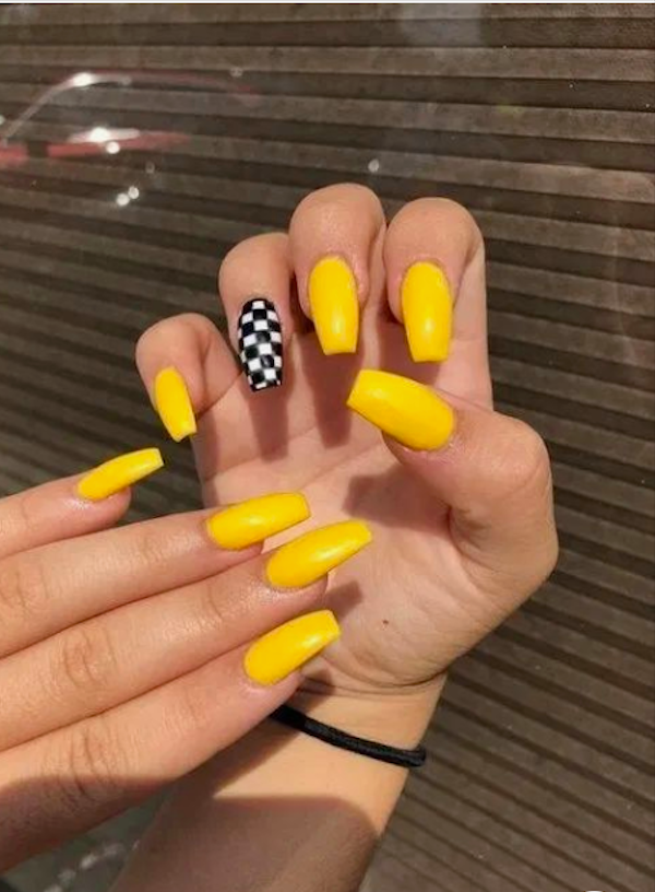 60 Yellow Nails With Gel And Matte In Oval And Coffin Shapes Page 10 Of 10 In 2020 Yellow Nails Design Yellow Nail Art Summer Acrylic Nails