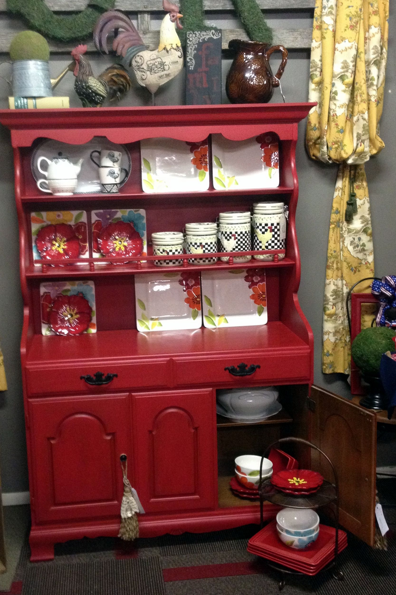 Crawford Furniture Maple China Hutch Chalk Painted Red And Dark Wax Lovely