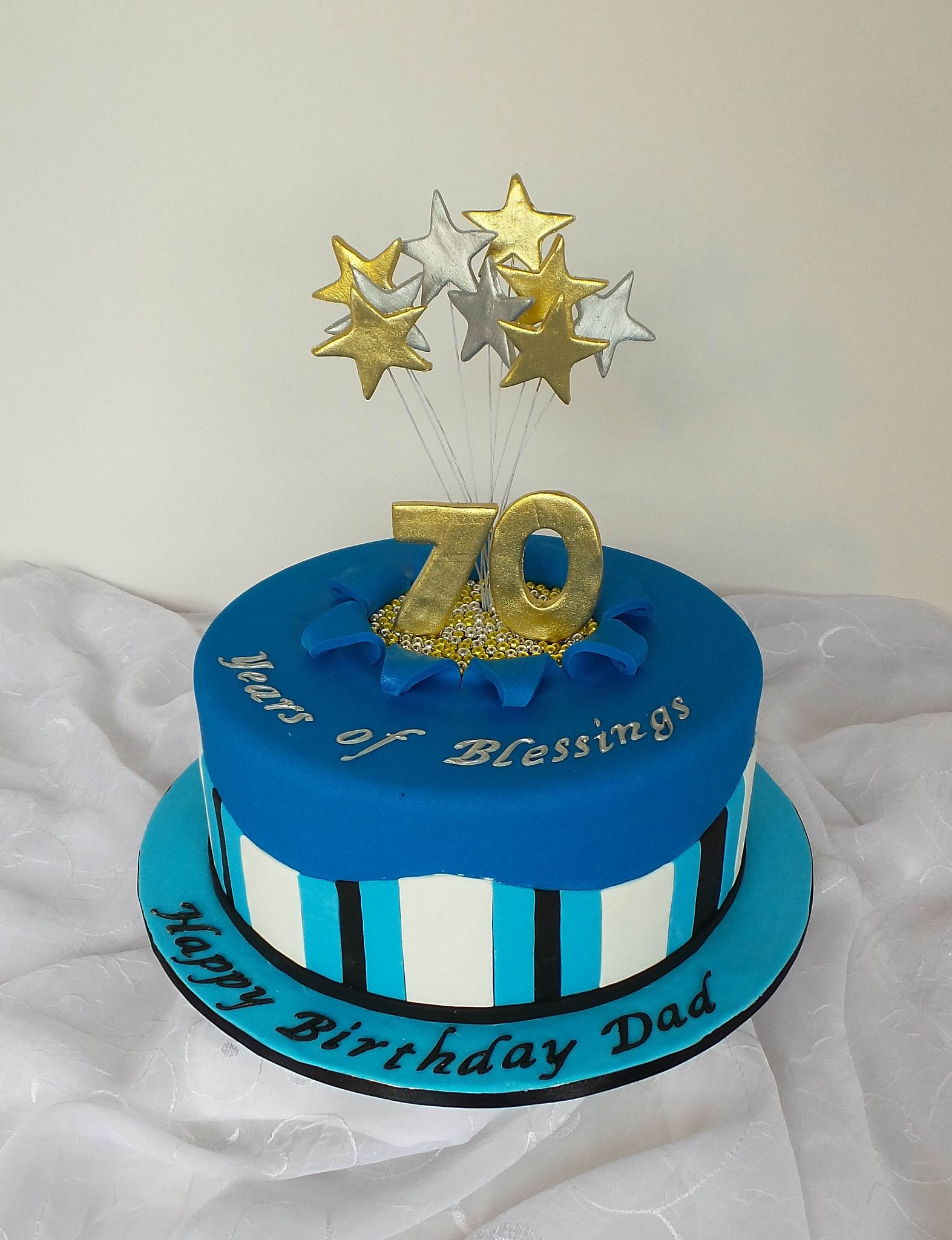 70th Royal Blue Gold And Silver Birthday Cake With Images