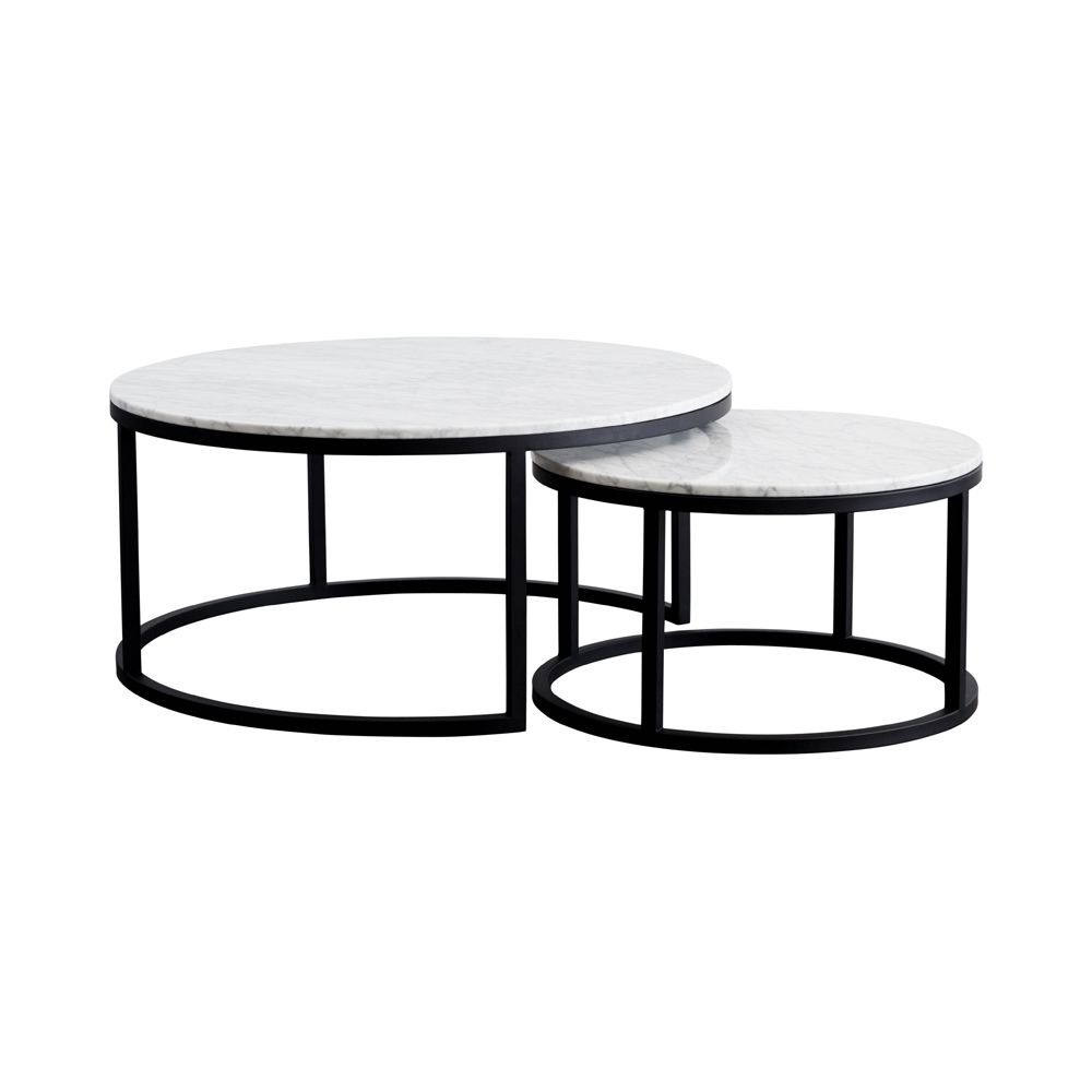 Modern designer round nesting marble coffee tables black steel metal base steel metal Round marble coffee tables