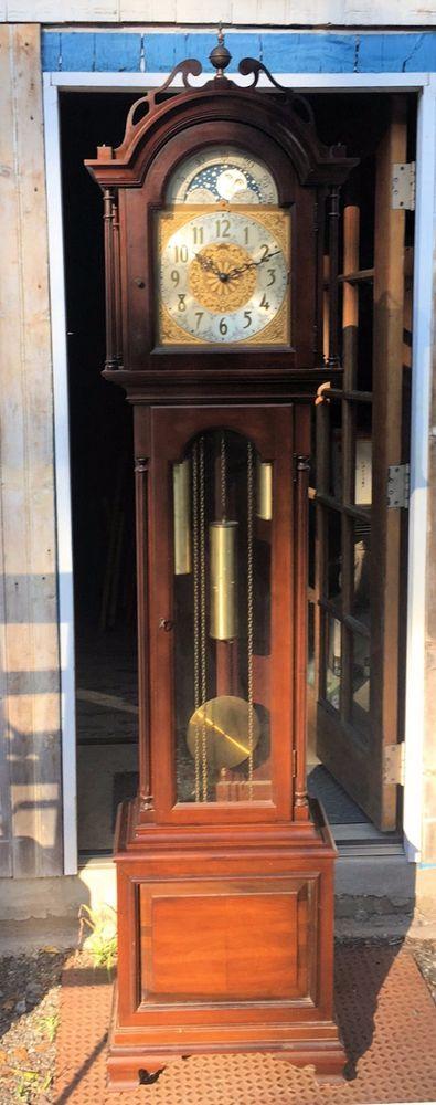 Vtg Ridgeway President Monroe Grandfather Clock-Triple Chime