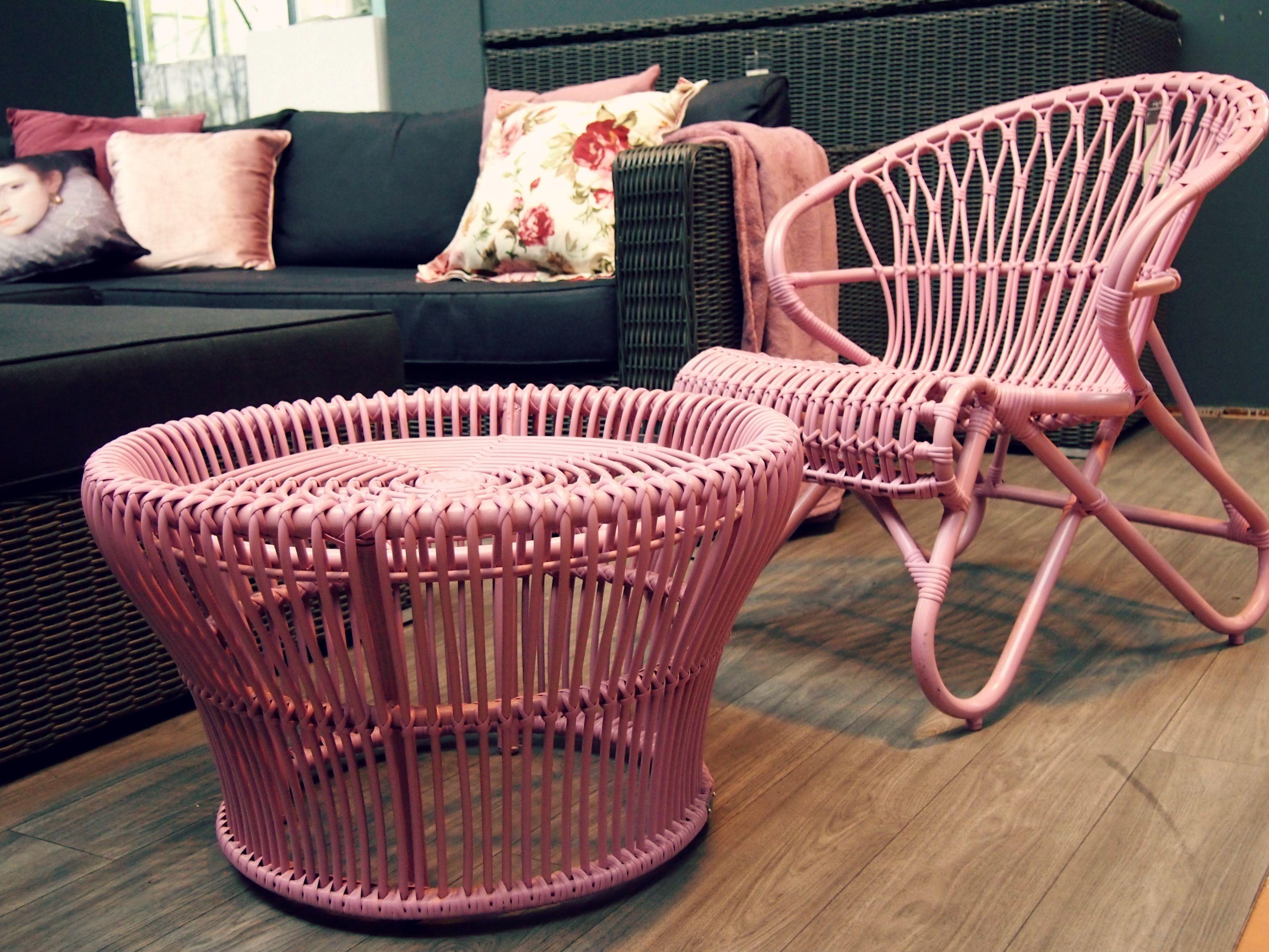 Pink #rose #roze #gevlochten #wicker #rieten #tuinstoel #stoel ...