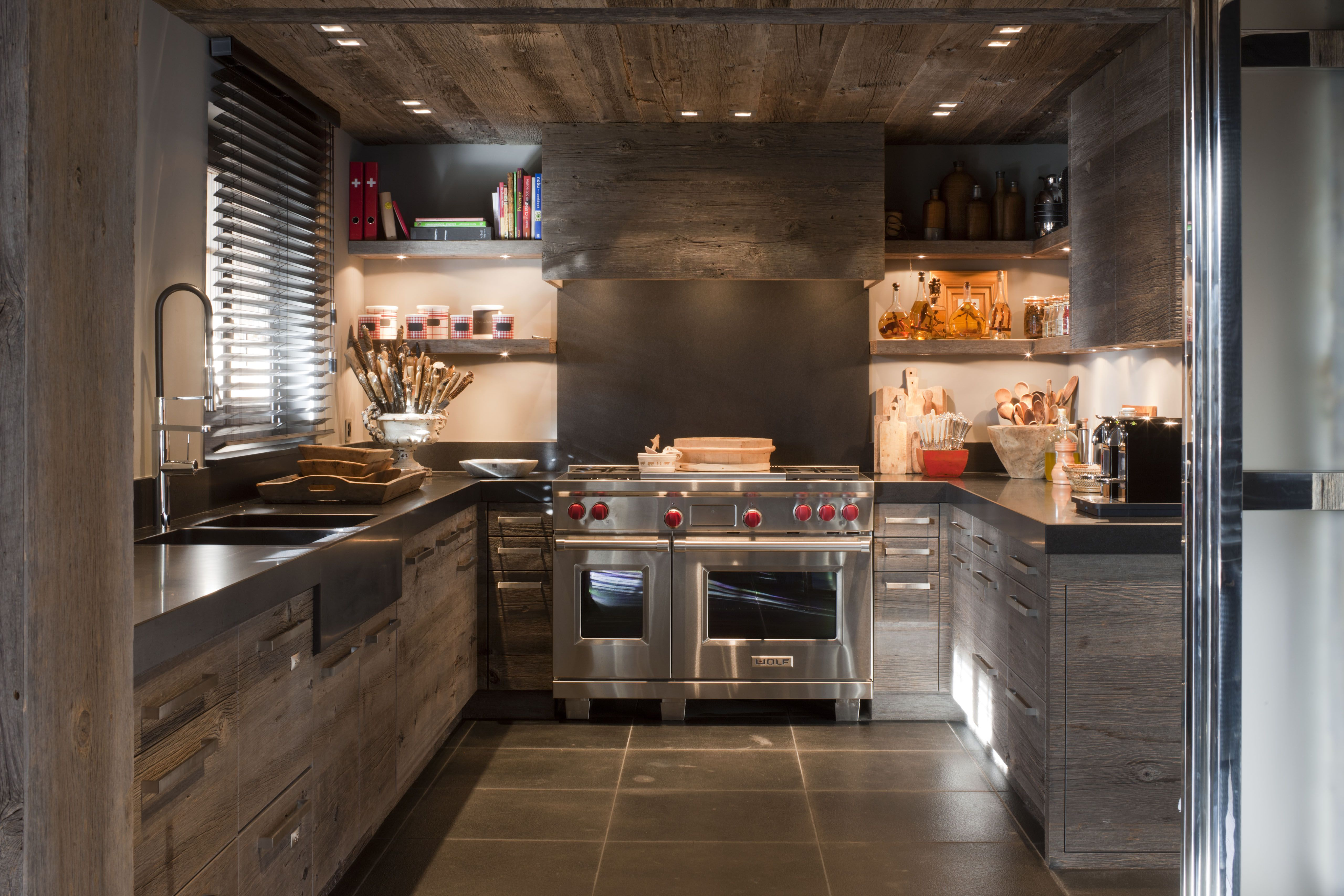 kitchen made with old barn wood www.collection-privee.com