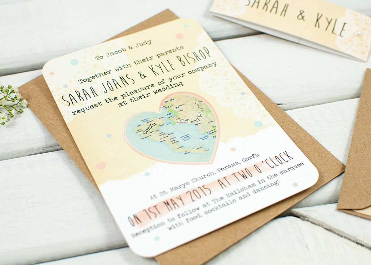 Rustic Map Wedding Invitations