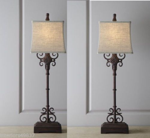 Tuscan Style S 2 Scrolling Wrought Iron Table Buffet Lamp Rustic Brown Pair Set Ebay Buffet Lamps Rustic Lamps Lamp