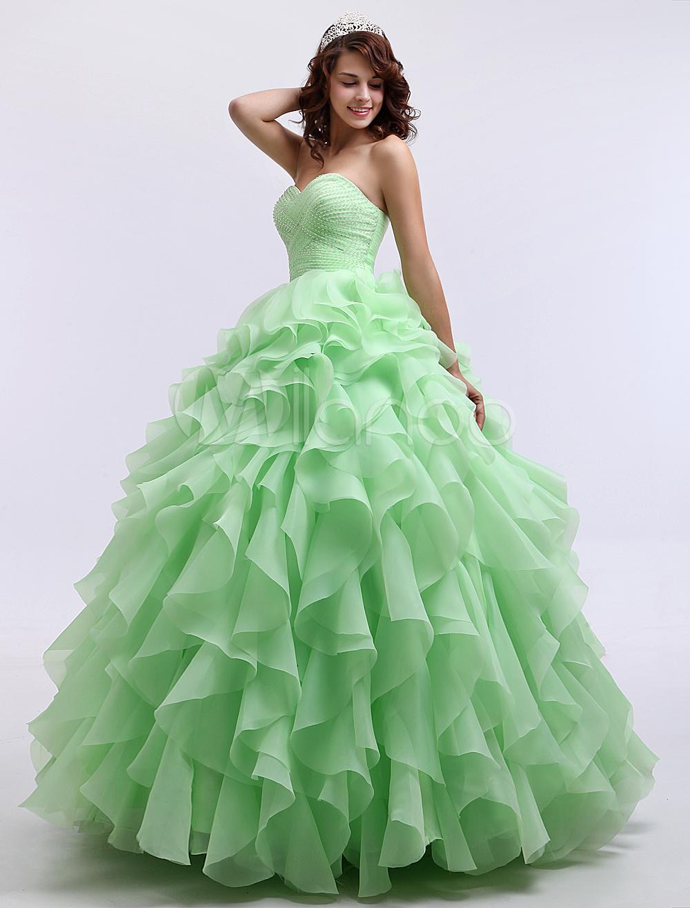 sage sweetheart floor length prom dress