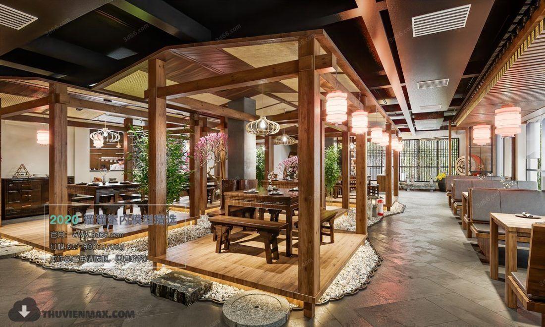 3d Model Interior Chinese Restaurant Scene Free Download In 2020 Chinese Restaurant Restaurant Interior