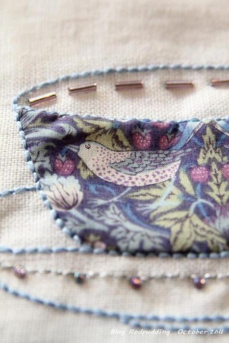 Aplicación de tela, bordados, perlas y encajes - vajilla encantador!