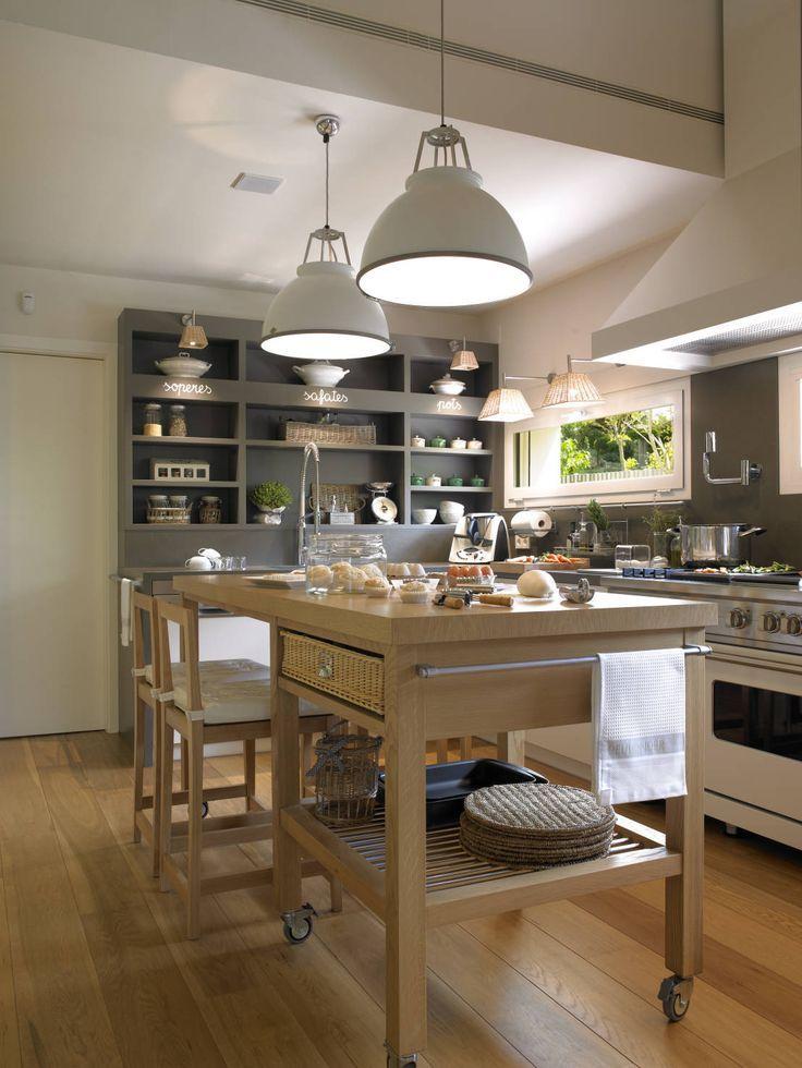 Lujo Las Islas De Cocina Móviles Con Heces Molde - Ideas de ...