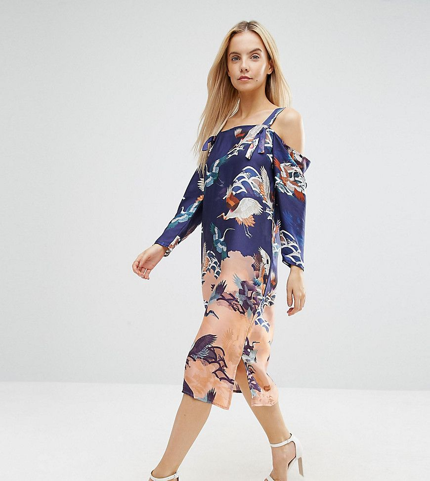 Asos Petite Cold Shoulder Dress In Bird Floral Print Multi Petite Dresses Casual Fashion Latest Fashion Clothes