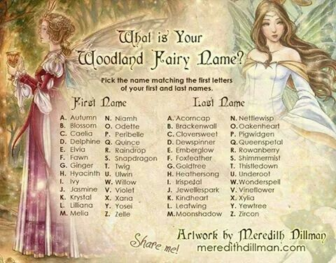 What is your woodland fairy name