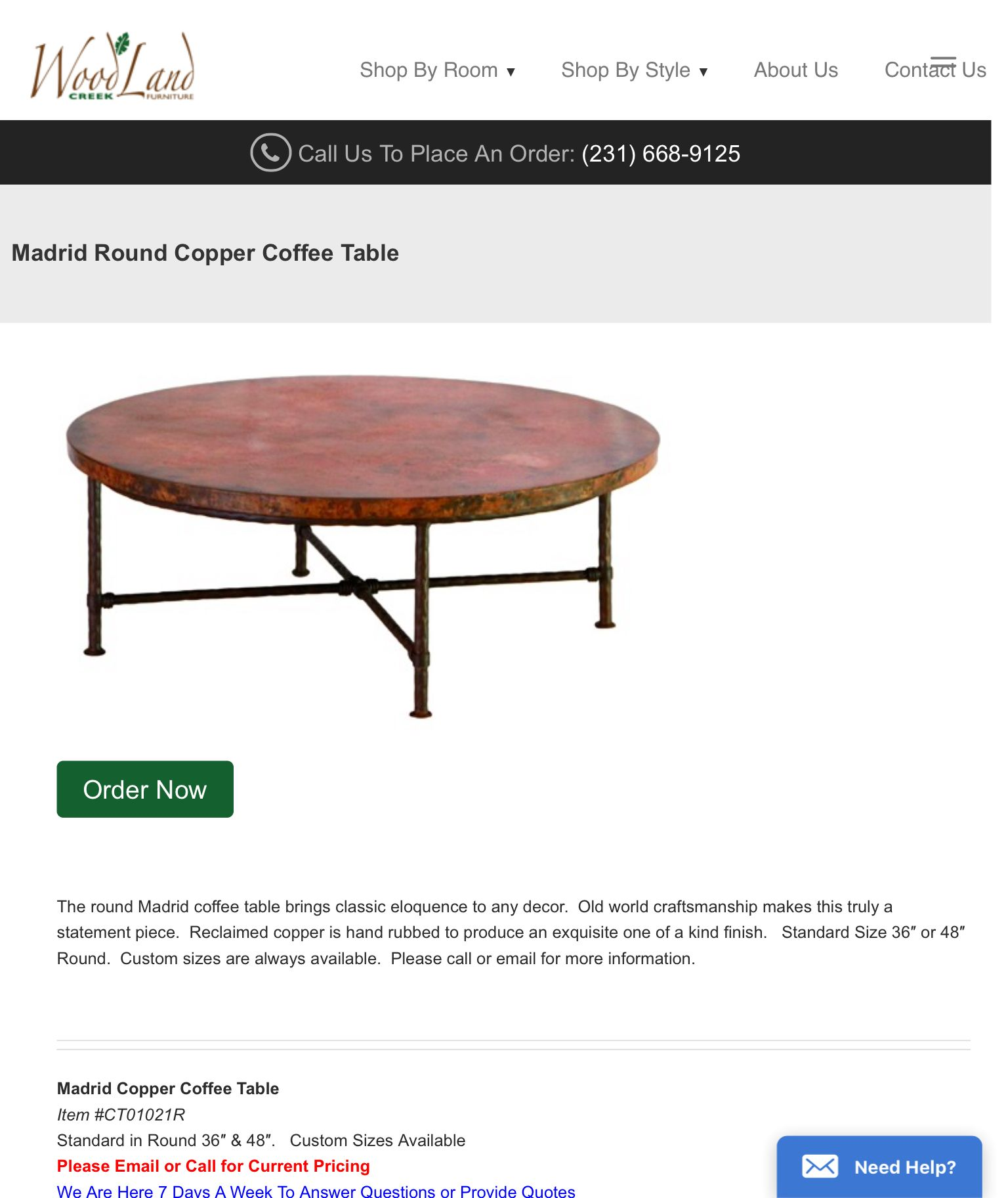 Https://woodlandcreekfurniture.com/product/madrid Round Coffee