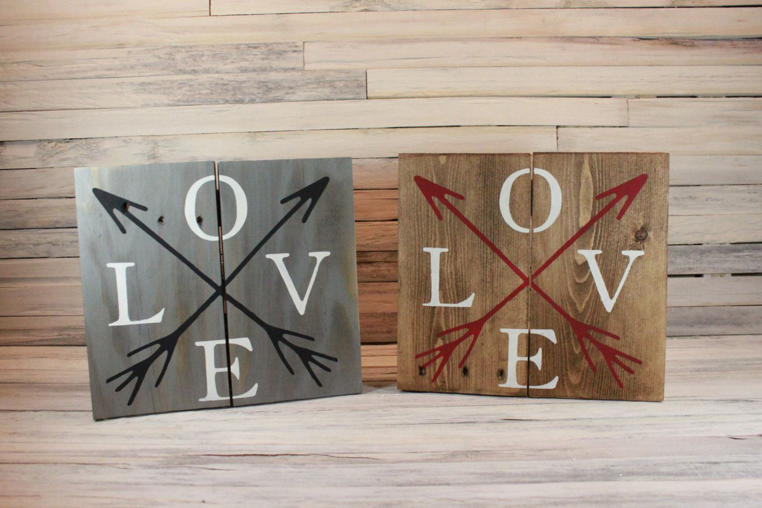 Wooden Love Sign Love Arrows Wooden Sign Rustic By Sylvanandgold Wooden Signs Love Signs Chalk Paint Wax