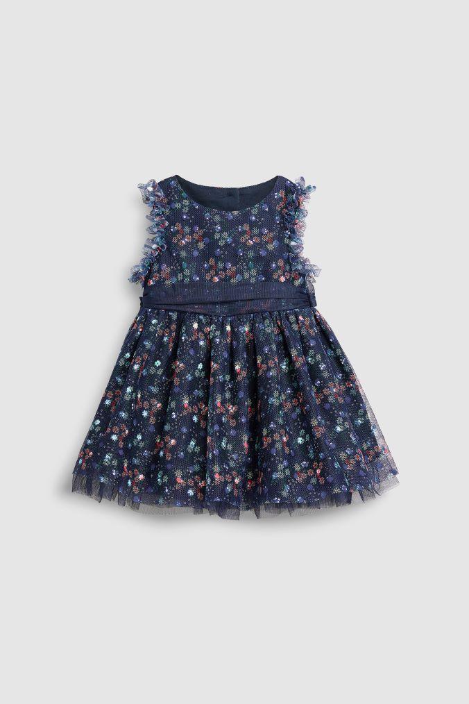 e007c735e9fd Girls Next Navy Lace Floral Prom Dress (3mths-7yrs) - Blue ...