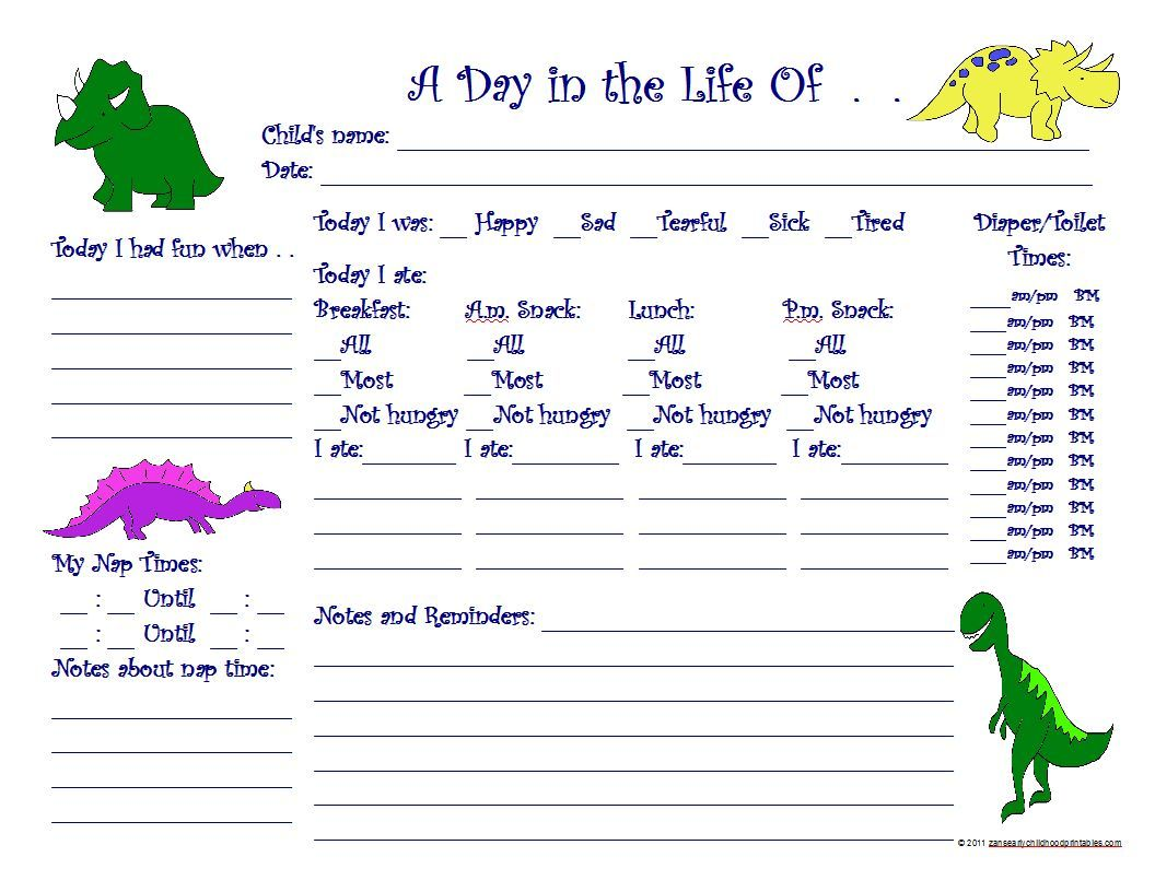 Free Day Care Daily Report Sheets