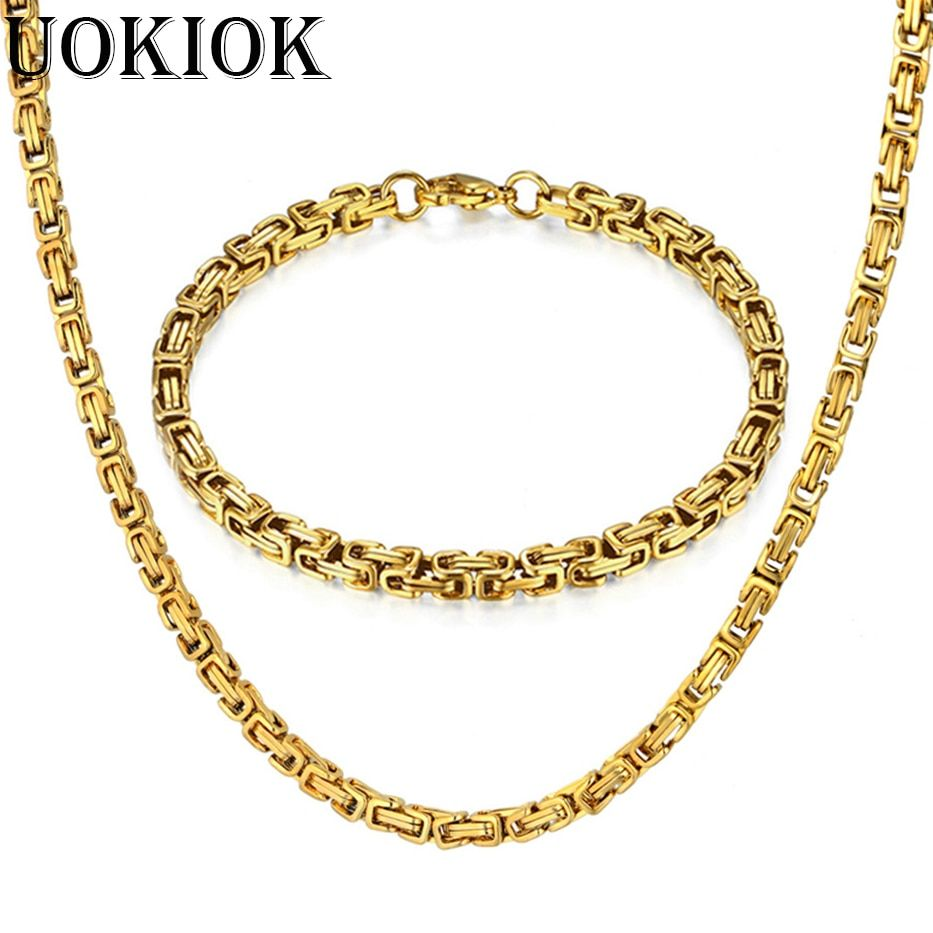 Mens Chain Jewelry Set Stainless Steel Gold Byzantine Link Necklace Bracelet