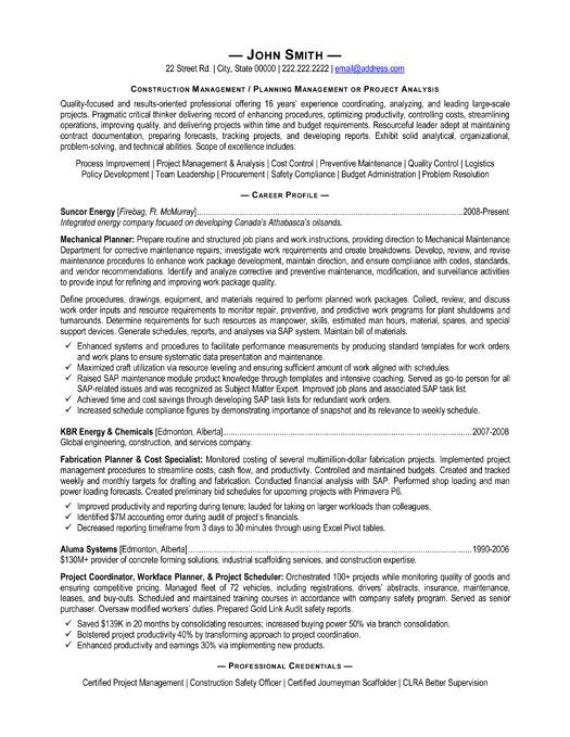 A resume template for a Construction Manager You can download it