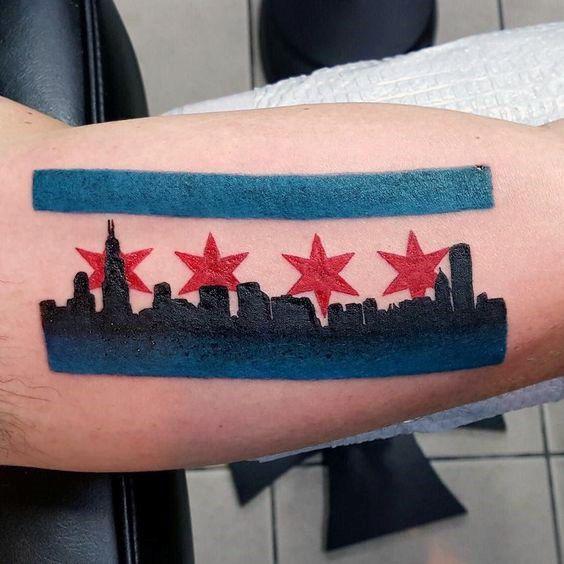 50 Chicago Flag Tattoo Designs For Men Illinois Ink Ideas Chicago Flag Tattoo Flag Tattoo Tattoos