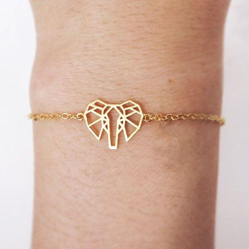 Photo of Gold color origami elephant charm bracelets stainless steel chain friendship bracelet femme kids animal jewelry bff