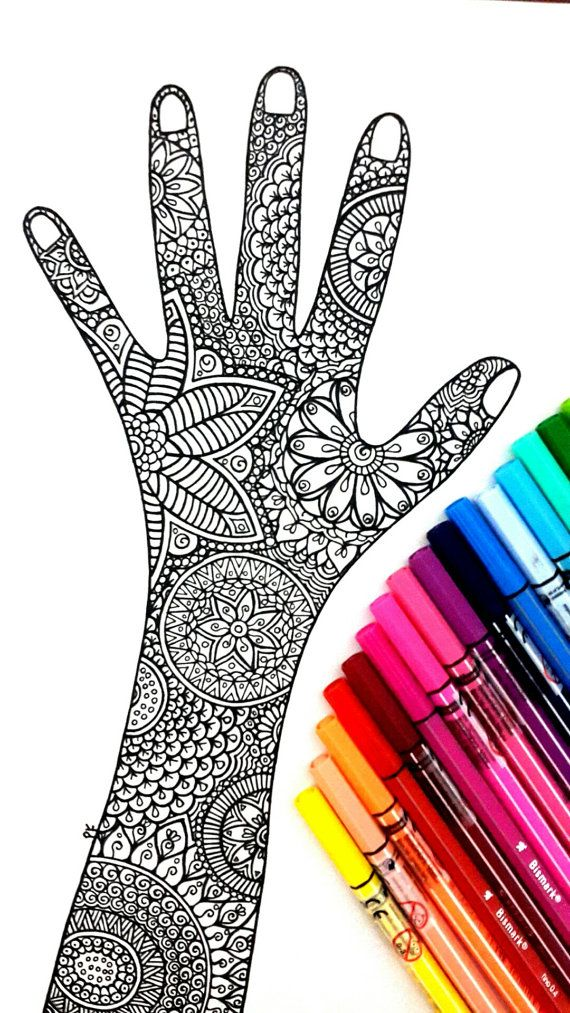 Zen hand Page for coloring, Art Therapy , with many details and pieces to color. Great to work with many colors ! Attached we have 5 images for you