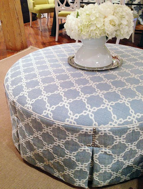 great round ottoman with interesting nail head trim above pleats - Great Round Ottoman With Interesting Nail Head Trim Above Pleats