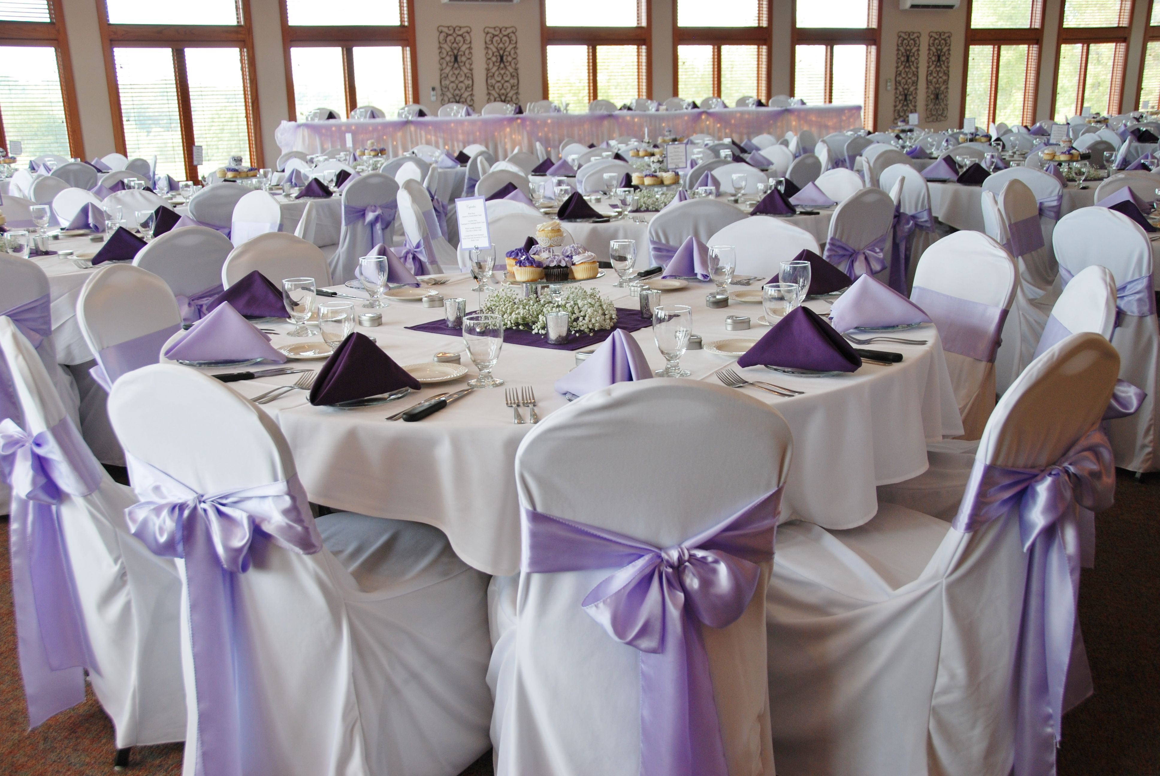 Lavender Wedding Chair Covers Lavender Sashes Reception Decor Elegant Wedding Wedding Chairs White Chair Covers Wedding Linens