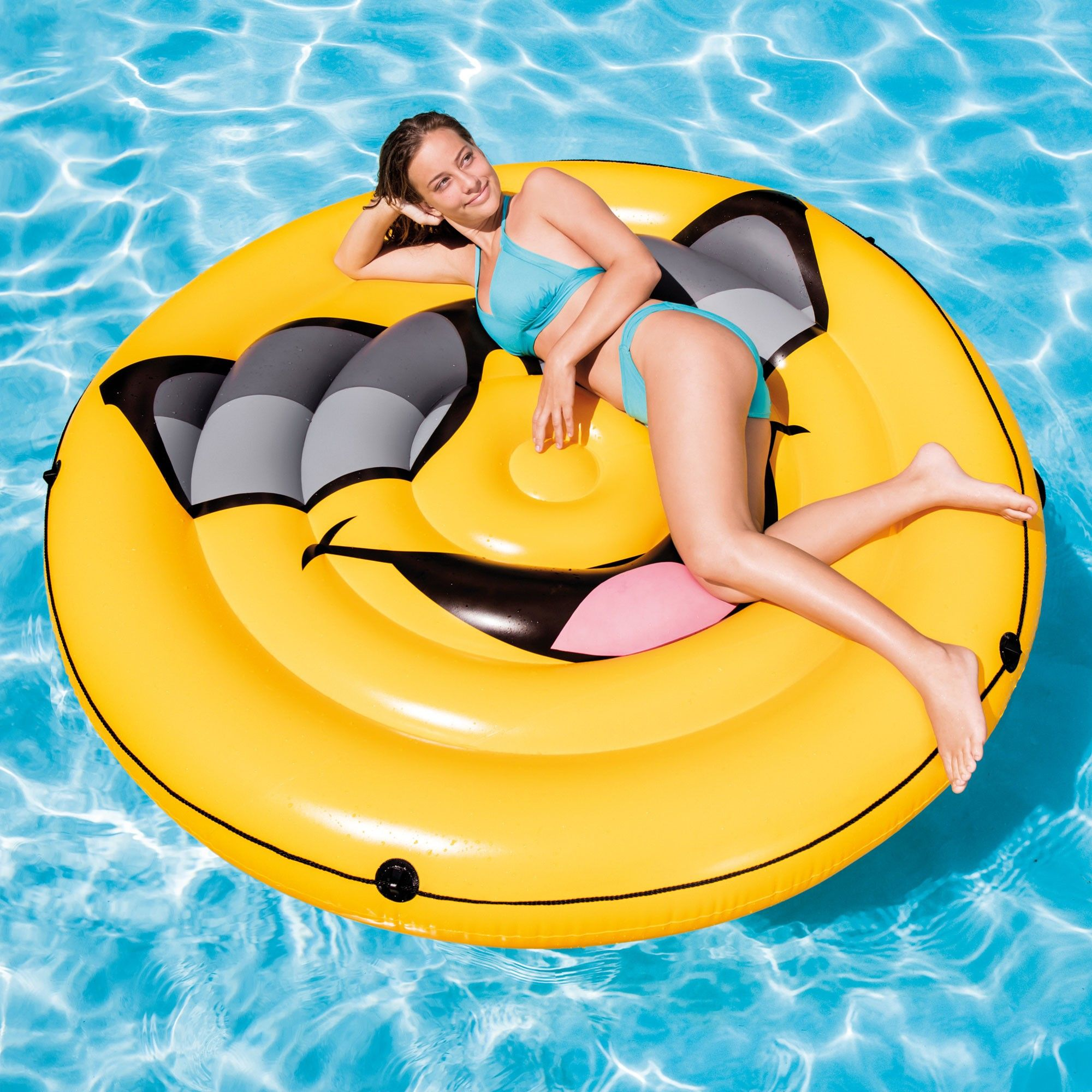 Intex Giant Inflatable Emoji Cool Guy Island Lounger Ride-On ...