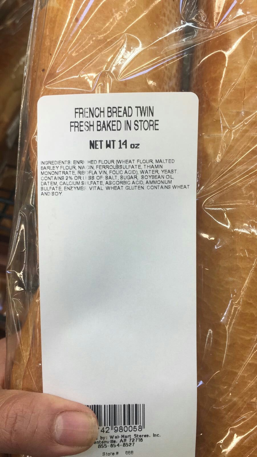 Walmart Fresh Baked French Bread Twin Pack Is Vegetarian And Halal Verified On 11 30 2017 All Parts Are Plant Derived Barley Flour Wheat Gluten Malted Barley