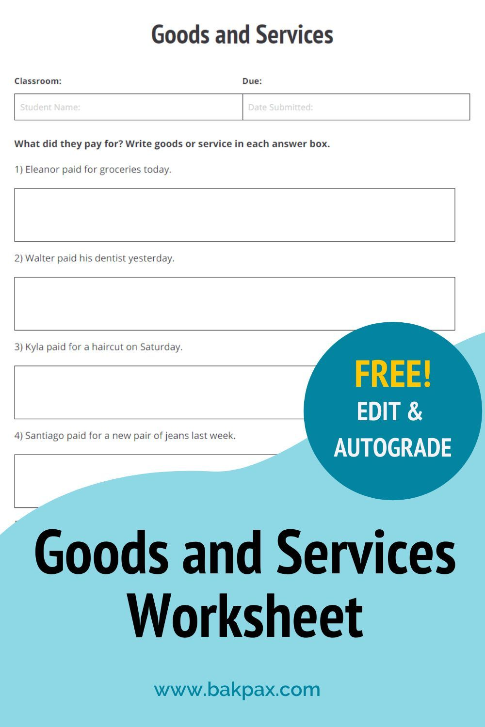 Free Goods And Services Social Studies Worksheet Social Studies Worksheets Social Studies Goods And Services