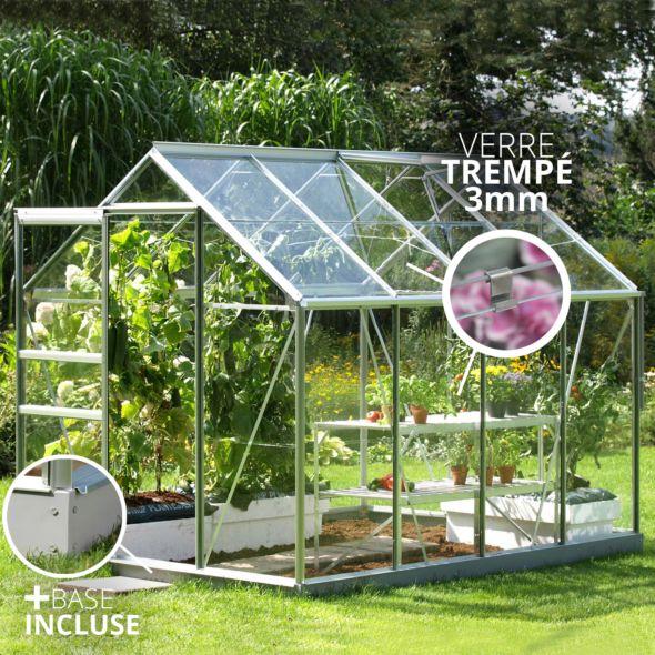 Serre En Verre Trempe Allium Alu 2 50 M Lams Serre En Verre Serre Jardin Petite Serre De Jardin
