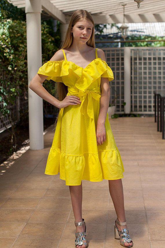 32214d149b Yellow girls outfit Linen girl Drerss Summer girl outfit Organic kids clothes  Linen Dress with Ruffl