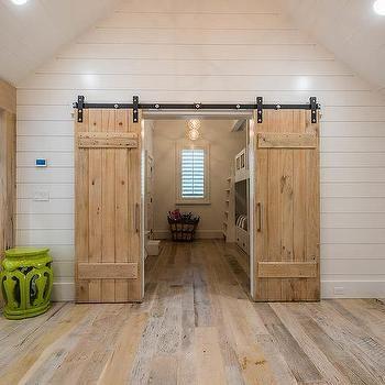 2 Barn Doors To Shared Kids Room Modern Bunk Beds Bunk Beds Kids Bunk Beds