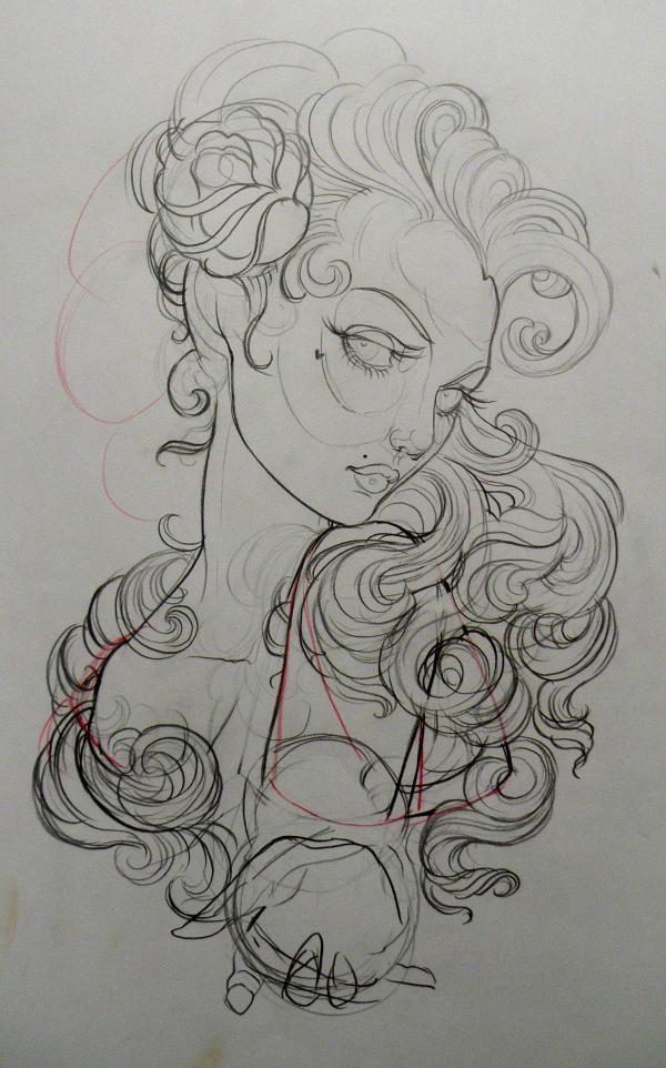 Neo traditional girl tattoo design google search neo trad pinterest dessin tatouage - Dessin new school ...