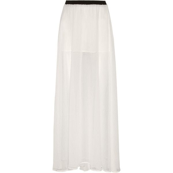 ENZA COSTA off-white maxi skirt. Handmade. Semi-sheer chiffon ...