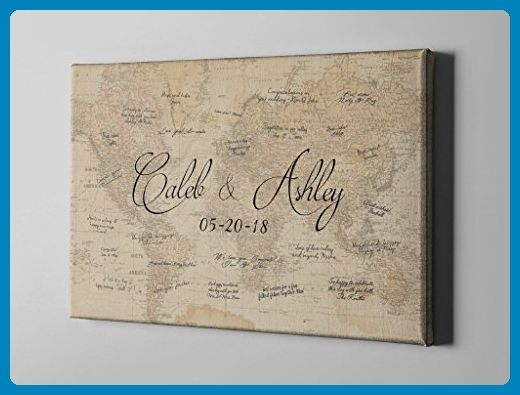 SALE 50 Off Canvas Guest Book, World Map Signature GuestBook