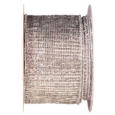 "Metallic Mesh Ribbon 2.5"" in width; 25 yds in length Silver Wire Edge"