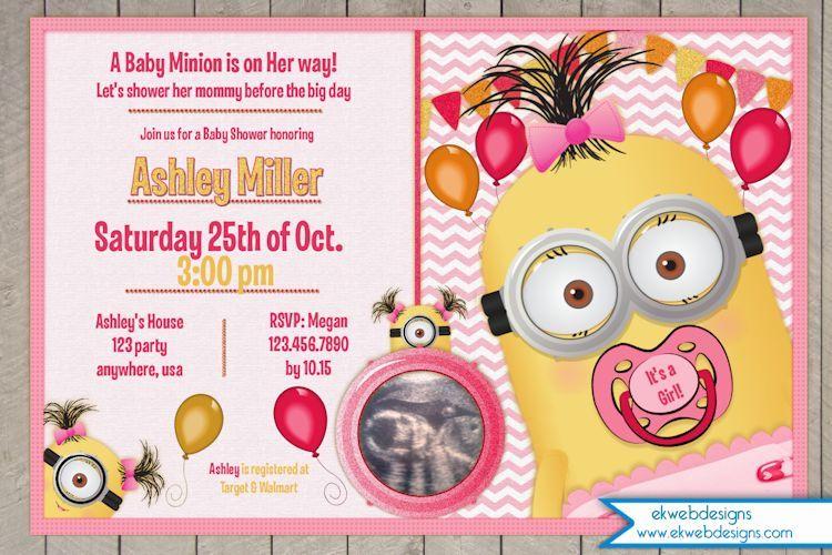 Custom Minion Baby Shower Invitation   Itu0027s A Girl Invitation