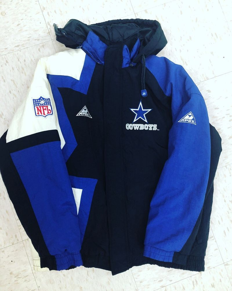 Vintage Pro Line Apex One L NFL Dallas Cowboys Football Jacket Coat  Windbreaker  46eb80f90