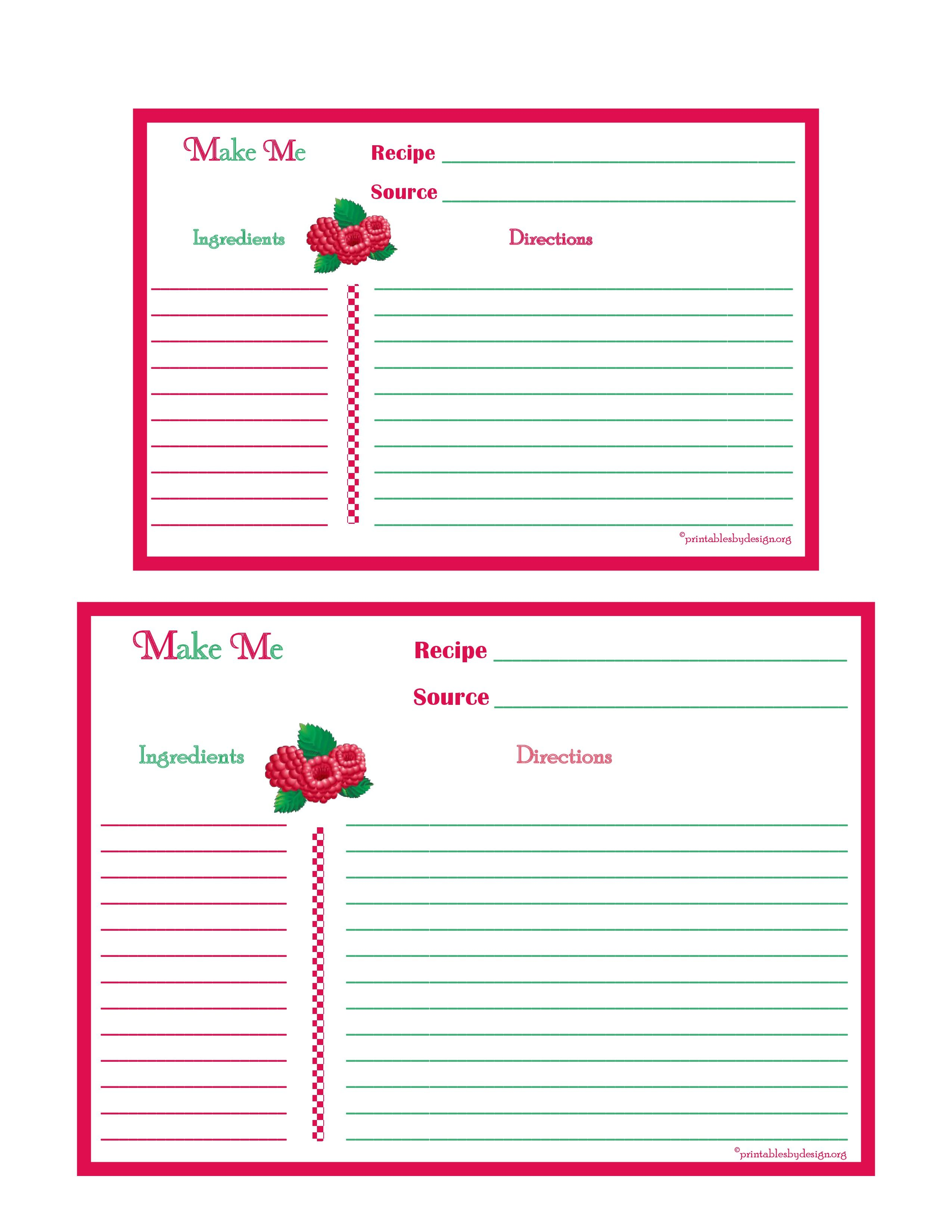 Raspberries Recipe Card 4x6 5x7 Page Recipe Cards Template Recipe Cards Photo Card Template