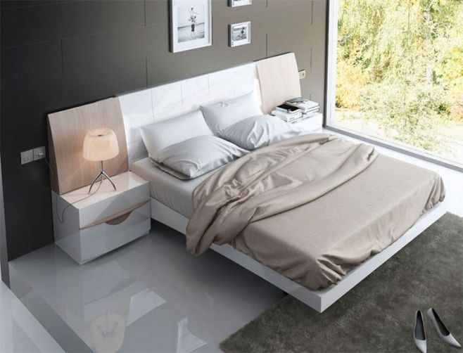 Modern High Gloss White and Wood Bed with 2 Bedside Cabinets by ...