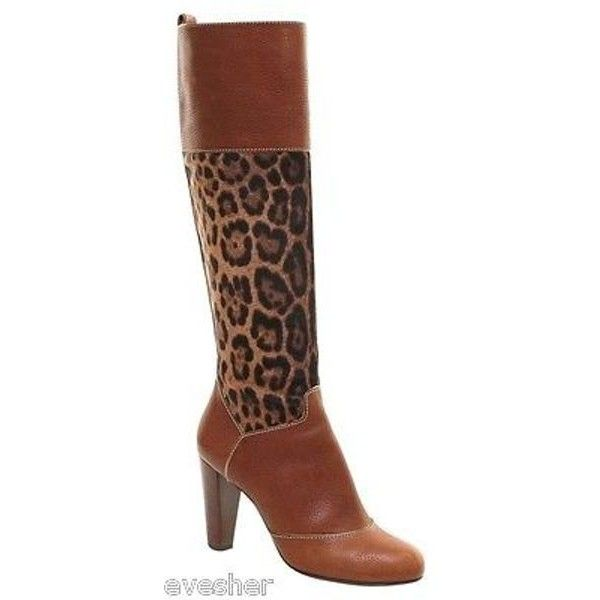 Pre-Owned Dolce & Gabbana Brown Leather Leopard Pony Boot Knee High... (€390) ❤ liked on Polyvore featuring shoes, boots, multi, gold boots, brown knee high boots, leather knee high boots, leopard print knee high boots and brown knee boots