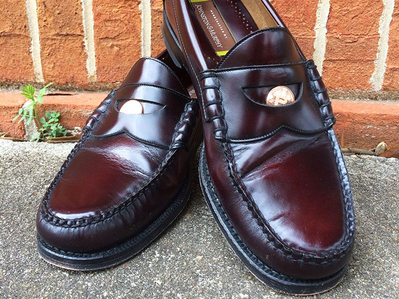 03fc08f34c3 Ski-Moc penny loafers in classic burgundy by Johnston   Murphy. One of our  favorite shoes for showing off our Bitcoin Penny™ commemorative coins.